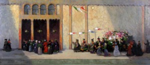 Detail from Venice Funeral Scene (oil on board)